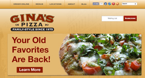 Gina's Pizza of Orange County website
