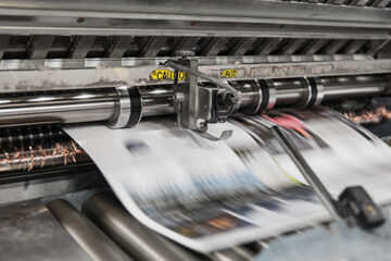 Newspaper on a printing press